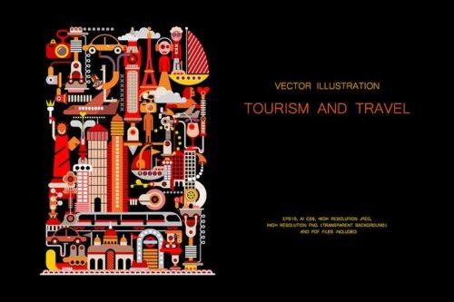 طرح لایه باز ست آیکون توریسم و سفر Tourism and Travel vector illustration