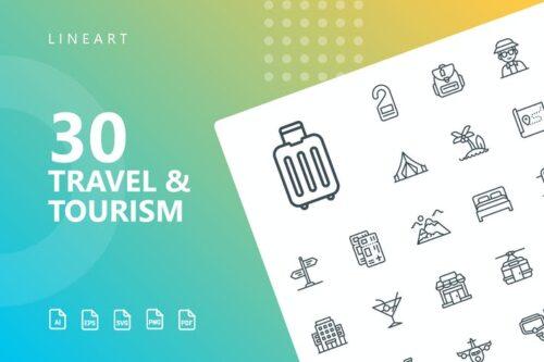 طرح لایه باز ست آیکون مسافرت و توریسم Travel & Tourism Line Icons