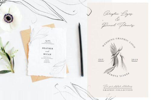 طرح لایه باز لوگو عروسی Wedding Graphic Logo & Pencil Flower