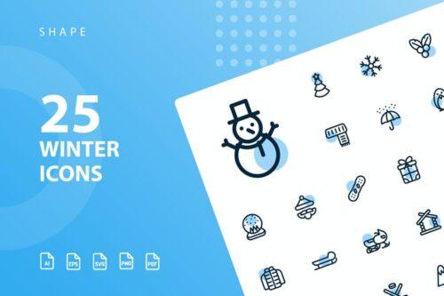 طرح لایه باز ست آیکون زمستان Winter Shape Icons