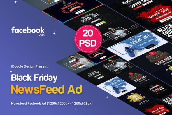 طرح لایه باز بنر تبلیغاتی حراجی Black Friday NewsFeed Banners Ad - 20PSD