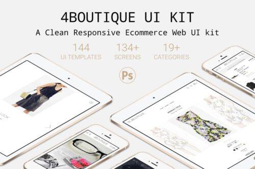 طرح لایه باز کیت رابط کاربری 4Boutique - A Responsive Ecommerce Web UI KIT PSD