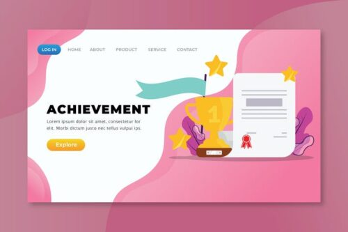 طرح لایه باز لندینگ پیج Achievement - XD PSD AI Landing Page