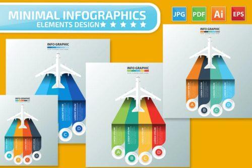 طرح لایه باز اینفوگرافیک هواپیما Airplane Infographics Design