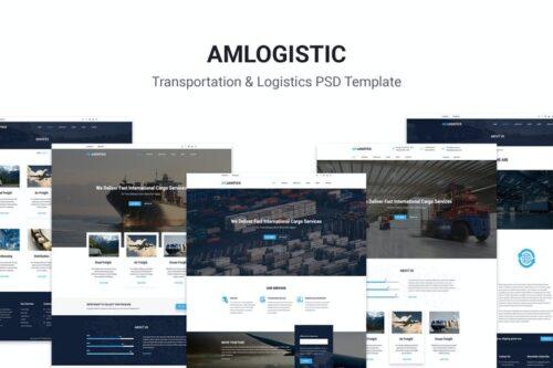 طرح لایه باز قالب وبسایت حمل و نقل Amlogistic | Transportation & Logistics PSD Templa