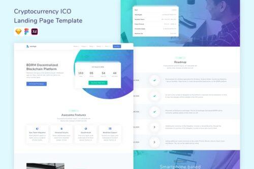 طرح لایه باز لندینگ پیج ارزدیجیتال Bitcoin & Cryptocurrency ICO Landing Page Template