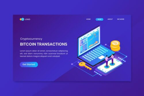 طرح لایه باز لندینگ پیج ارز دیجیتال Bitcoin Transactions Cryptocurrency Landing Page
