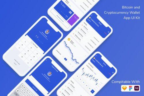 طرح لایه باز کیف پول ارز دیجیتال Bitcoin and Cryptocurrency Wallet App UI Kit
