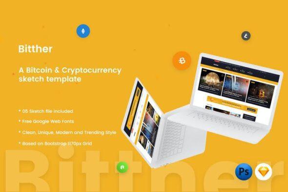 طرح لایه باز تمپلیت مجله کریپتو Bitther - Cryptocurrency Magazine Sketch Template