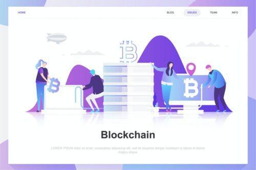 طرح لایه باز لندینگ پیج بلاکچین Blockchain Flat Concept