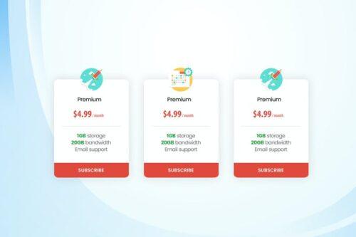 طرح لایه باز تمپلیت جدول قیمت Business Pricing Table UI Template PSD