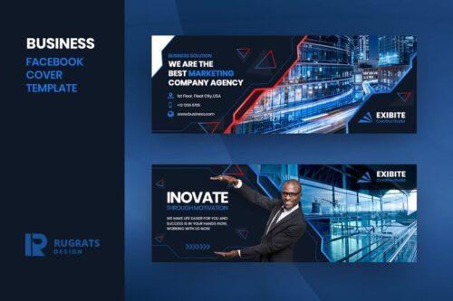 طرح لایه باز تمپلیت کاور فیسبوک Business R1 Facebook Cover Template