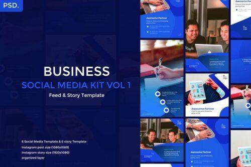 طرح لایه باز تمپلیت شبکه اجتماعی Business Social Media Template 1.1