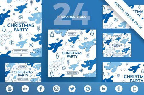 طرح لایه باز تمپلیت کریسمس شبکه اجتماعی Christmas Party Social Media Pack Template