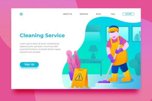 طرح لایه باز لندینگ پیج خدمات نظافت Cleaning Service - Landing Page