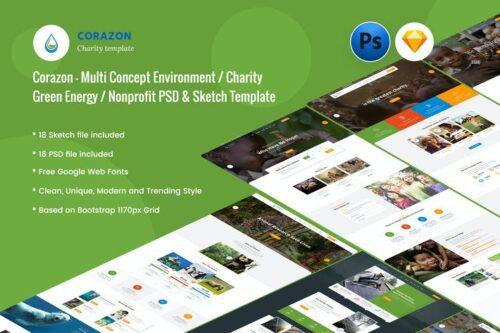 طرح لایه باز تمپلیت موسسات خیریه Corazon - Creative Charity / Nonprofit Template