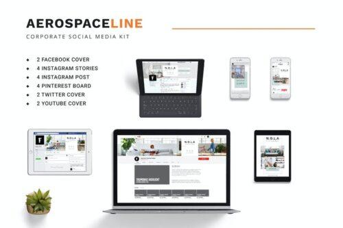 طرح لایه باز کیت پست و استوری شبکه های اجتماعی Corporate Social Media Kit