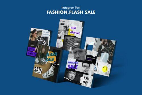 طرح لایه باز پست حراج اینستاگرام Creative Fashion Sale Instagram Posts PSD Template