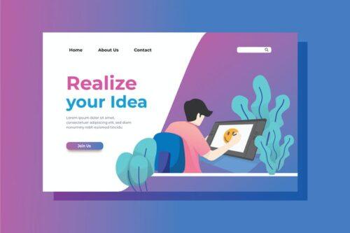 طرح لایه باز لندینگ پیج آفیس Creativity Landing Page Illustration