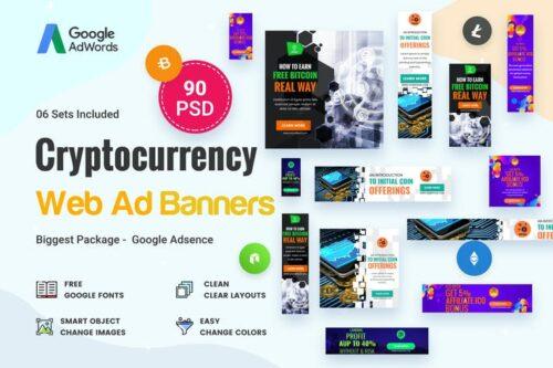 طرح لایه باز بنر تبلیغاتی کریپتو Cryptocurrency Banners Ad - 90 PSD