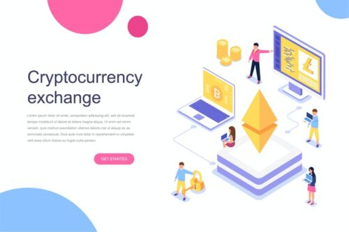 طرح لایه باز لندینگ پیج صرافی ارز دیجیتال Cryptocurrency Exchange Isometric Concept