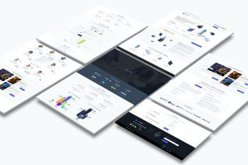 طرح لایه باز لندینگ پیج بلاکچین و کریپتو Cryptocurrency and ICO Landing Page Light Pro
