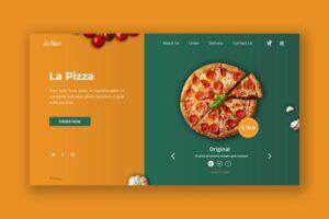 طرح لایه باز تمپلیت هدر وبسایت رستوران و فست فود Delicious Pizza Hero Header PSD Template