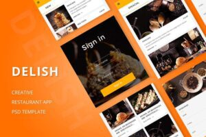 طرح لایه باز تمپلیت اپ موبایل رستوران Delish – Creative Restaurant Mobile APP PSD
