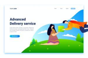 طرح لایه باز لندینگ پیج خدمات ارسال بسته Delivery Service Landing Page