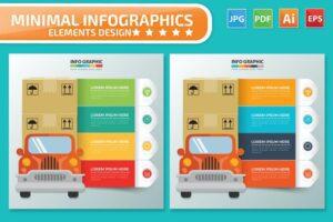 طرح لایه باز تمپلیت اینفوگرافیک بسته بندی و تحویل بار Delivery and Cargo Infographics Design